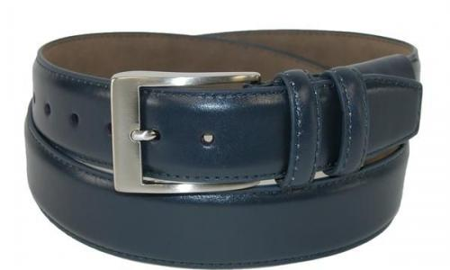 Man Blue Full Grain Leather Belt With Double Loops